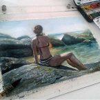 06---Moça-na-praia---Aquarela