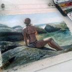 06 - Moça na praia - Aquarela