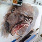 15---Gorila---Aquarela