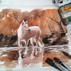 26---Wolf---Aquarela
