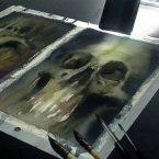 32---Skulls---Aquarela
